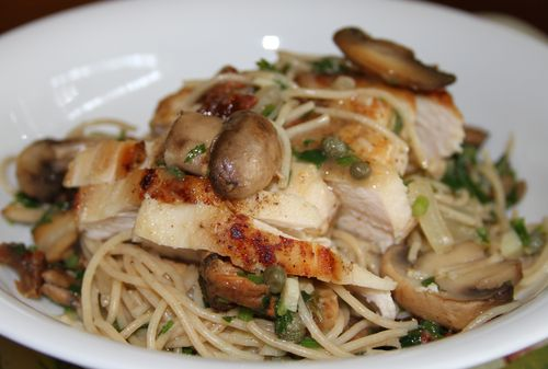 Chicken with Lemon-Butter-Caper Sauce, Mushrooms  PastaStyleNectar