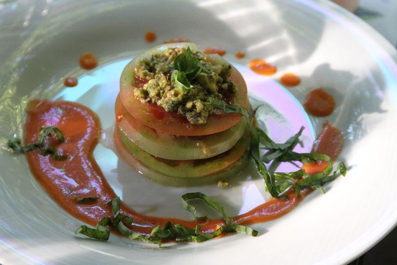 Green Tomato Pave with Pistachio Relish & Sweet Tomato Fondue ...