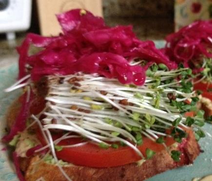 Open-faced-avocado-sprouts-tomato-dijon-millet-toast-sandwich