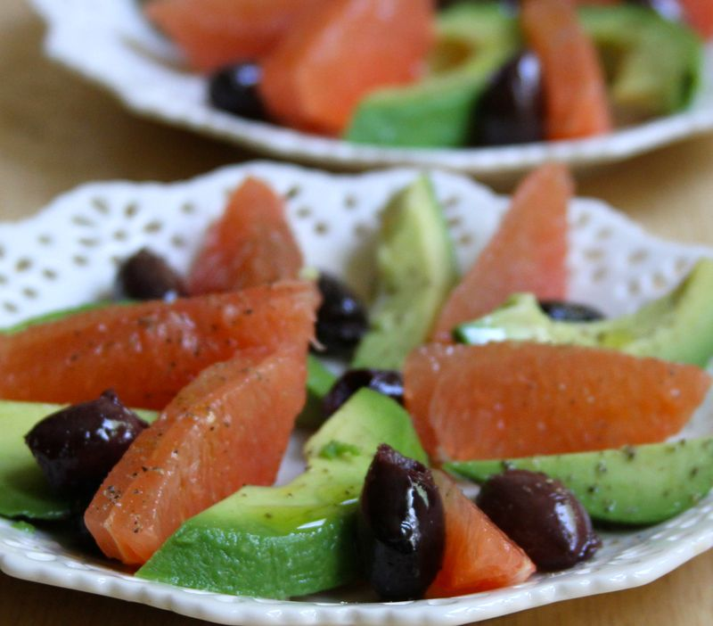 Grapefruit Avocado Kalamata Salad