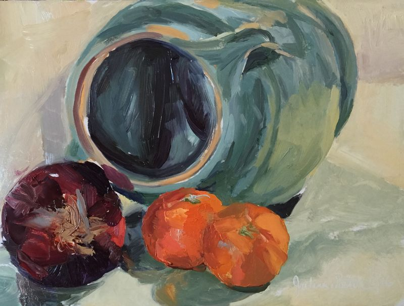 Red Onion Jug Clementines OIl Painting